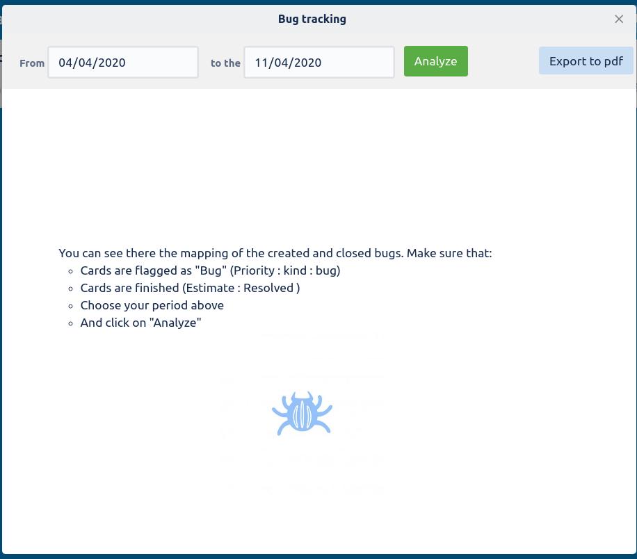 Bug Tracking modal
